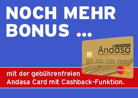 Noch mehr Bonus mit der Andasa Card!
