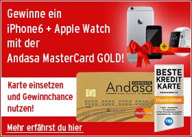 Gewinne mit der Andasa MasterCard GOLD ein iPhone6 + Apple Watch!