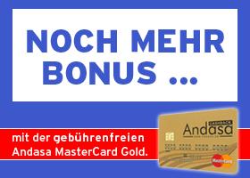Andasa MasterCard GOLD - Mehr Informationen, hier klicken!