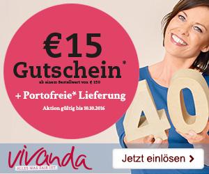 15€ Jubiläumsgutschein + Gratis-Versand