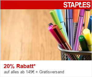 20% Rabatt bei Staples
