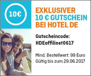 10€ Gutschein bei HOTEL DE!!!