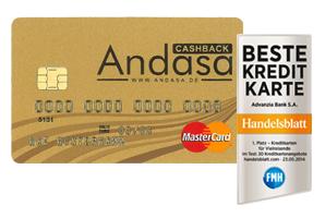 Andasa Mastercard GOLD mit Handelsblattsiegel
