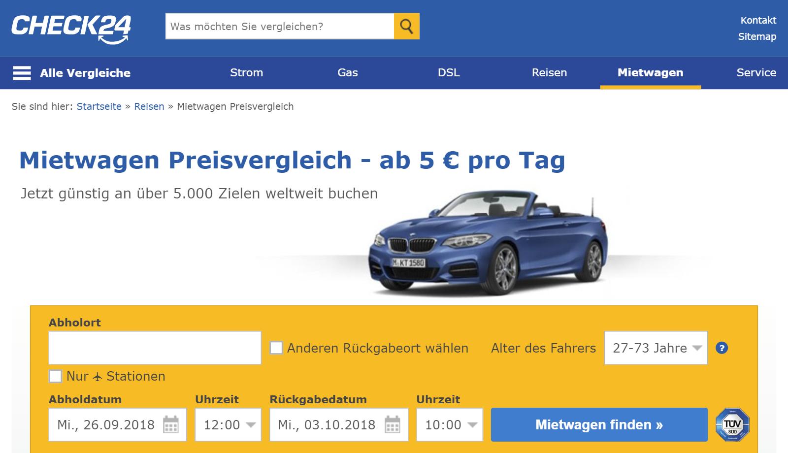 Check24 Mietwagen Gutschein