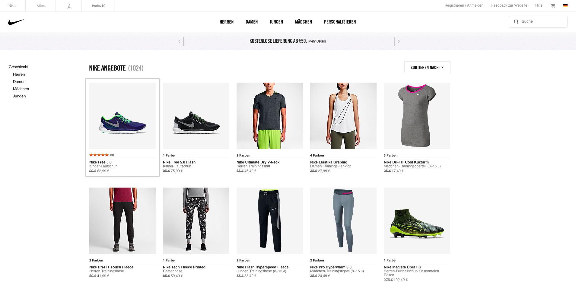 Nike Store Gutschein