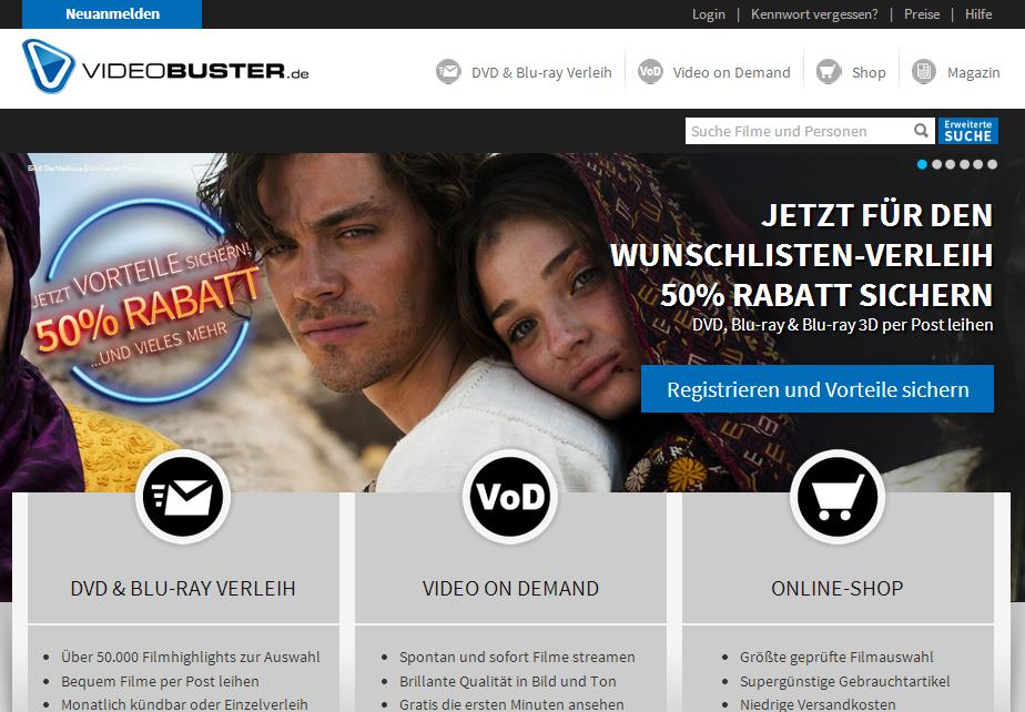VideoBuster / Netleih Neuanmeldung Gutschein