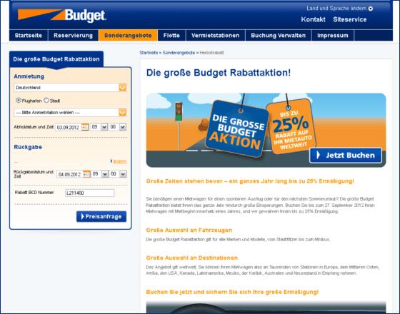 Budget Autovermietung Gutschein