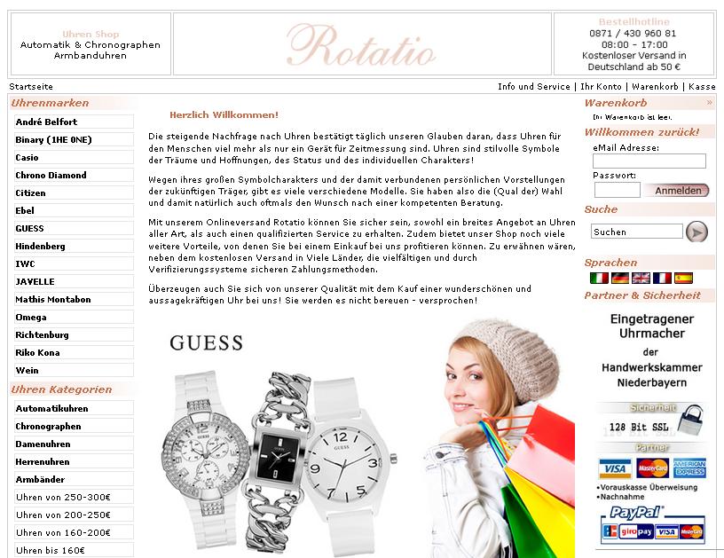 Rotatio Uhren Shop Gutschein
