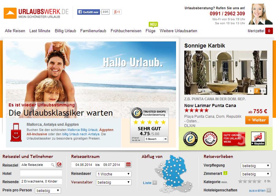 Urlaubswerk Online Reisebüro Gutschein