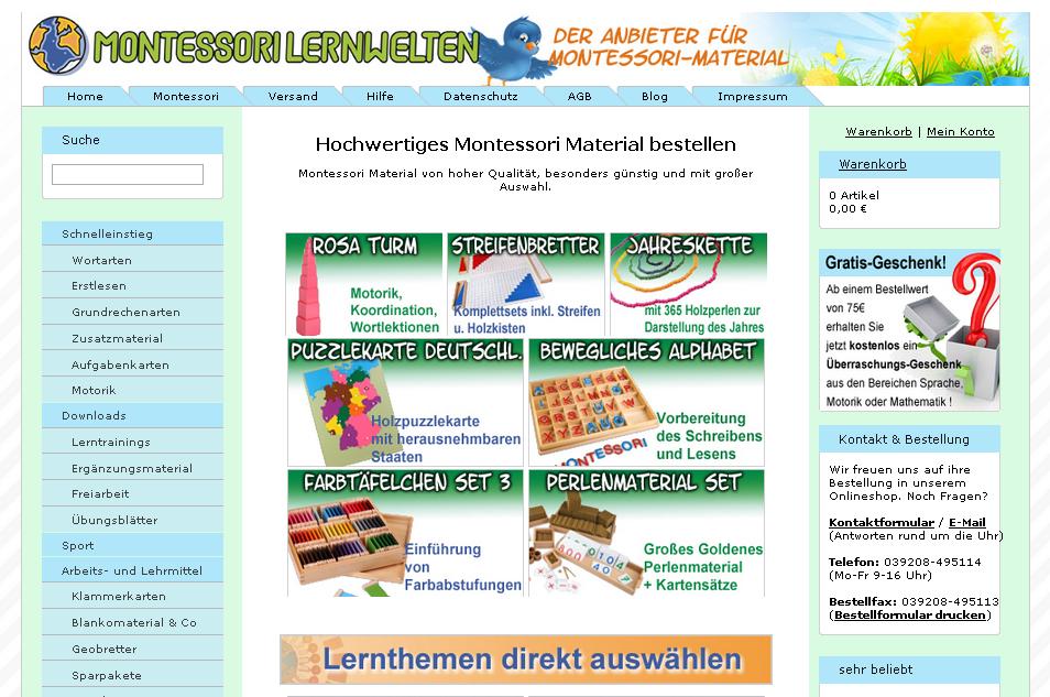 Montessori-Material Gutschein