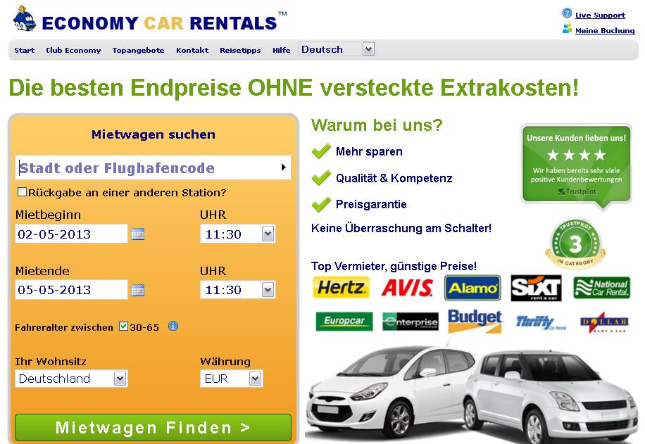 Economy Car Rentals Gutschein