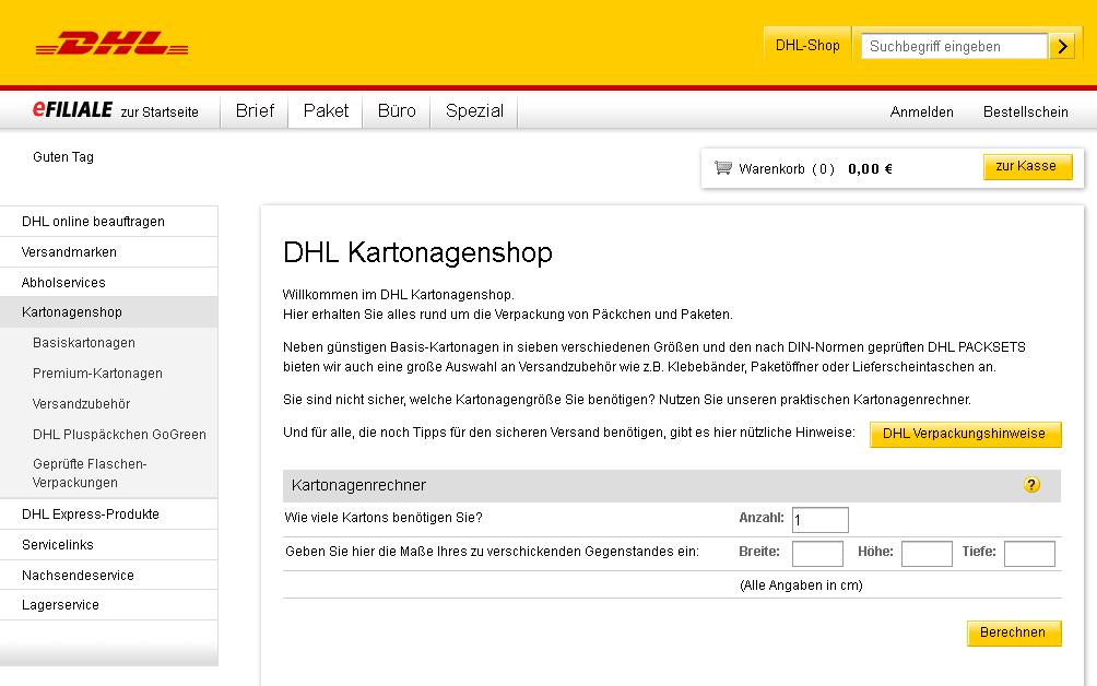 Deutsche Post eFiliale Kartonagen Gutschein