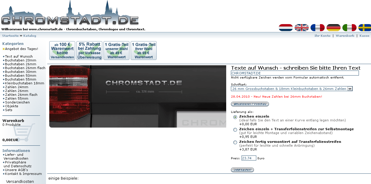 Chromstadt.de Gutschein