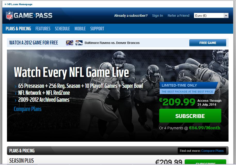 NFL Gamepass Gutschein