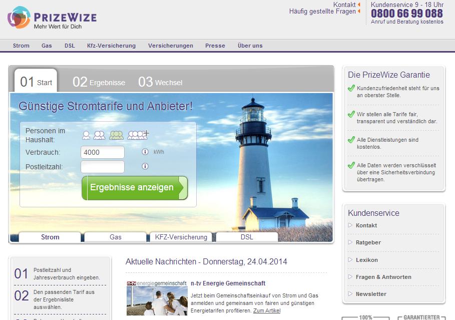 PrizeWize Strom & Gas Gutschein