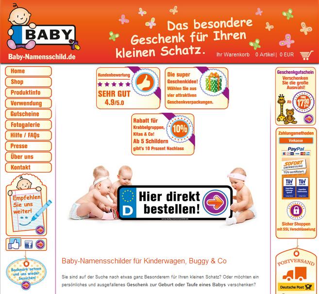 Baby-Namensschild.de Gutschein