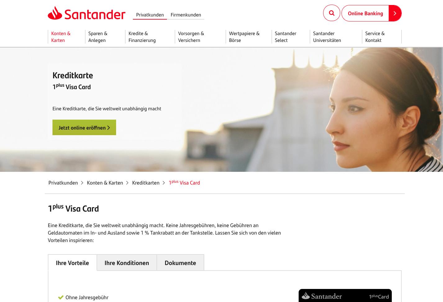Santander Kreditkarten Gutschein