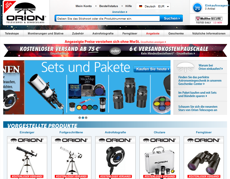 Orion Telescopes & Binoculars Gutschein