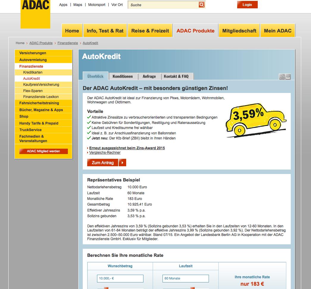 ADAC AutoKredit & Kreditkarten Gutschein
