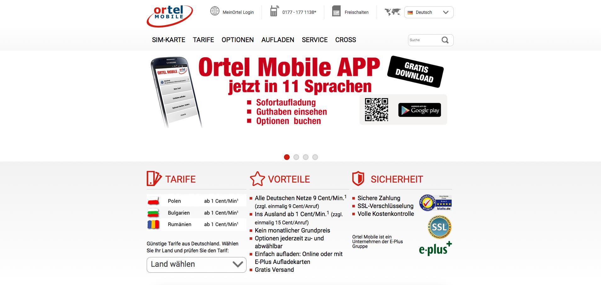 Ortel Mobile Gutschein