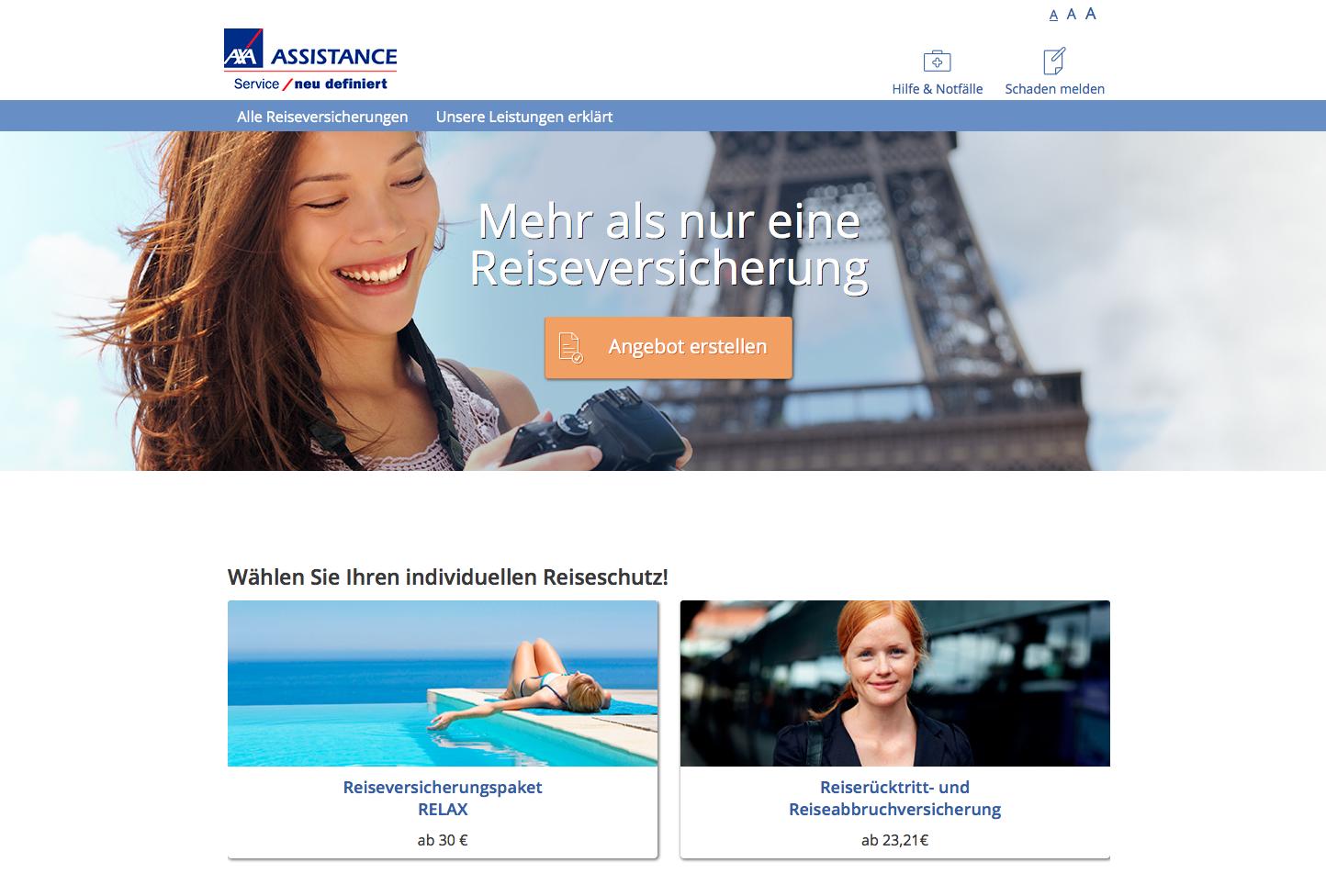 Axa Assistance Reiseversicherung Gutschein