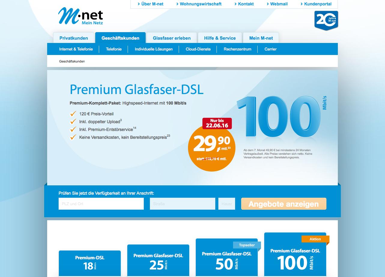 M-net Geschäftskunden Gutschein
