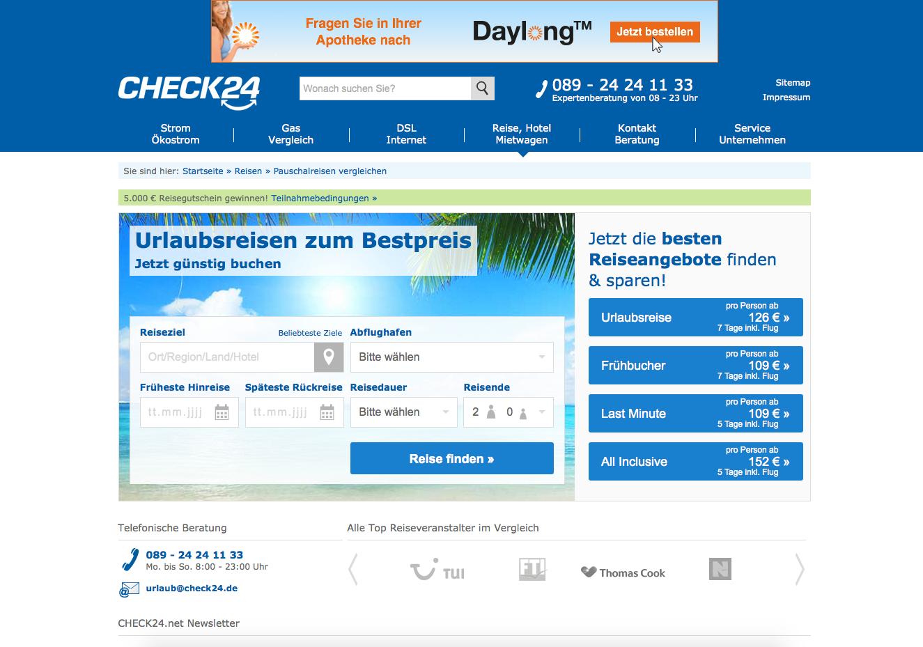 Check24 Pauschalreisen Gutschein